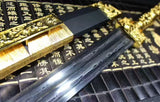 Han jian(Damascus Steel double groove blade,Black wood scabbard,Alloy shafts)Length 39""