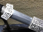 Han sword,Folded steel blade,Black wood scabbard,Alloy fitting,Length 31 inch - Chinese sword shop
