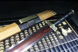 Han sword(Damascus steel red blade,Rosewood,Alloy)Hand forged - Chinese sword shop