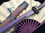 Qing dao sword,Damascus steel red blade,Rosewood scabbard,Alloy fittings,Length 30""