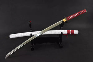 Japanese sword,katana(Medium carbon steel,White paint scabbard,Alloy fitted)Full tang - Chinese sword shop