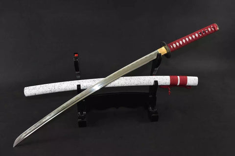 Japanese sword,katana(Medium carbon steel,White paint scabbard,Alloy fitted)Full tang,Length 39""