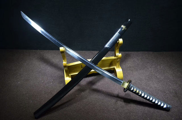 katana,Samurai sword(Medium carbon steel,Alloy,Black scabbard)Full tang - Chinese sword shop