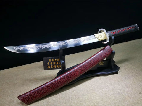 Red leather sheath broadsword,High carbon steel blade