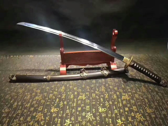 Nihontou Tachi(Damascus steel,Ebony scabbard,Brass tosogu)Full tang - Chinese sword shop