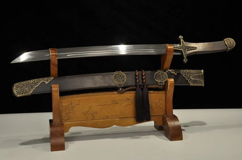 ASTRO KNIFE,SABRE,Damascus steel blade,Brass fittings,Black wood - Chinese sword shop
