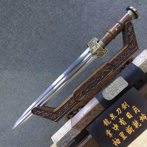 Dagger,Hand forged,Damascus steel,Rosewood,Alloy - Chinese sword shop