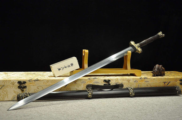 Counteract evil force sword,Damascus steel blade,Ebony Scabbard,Brass fittings - Chinese sword shop