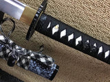 Katana,Medium carbon steel bade,Snowflake black paint scabbard,Alloy fittings - Chinese sword shop