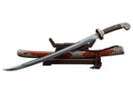 Qing dao sword,Damascus steel blade,MAHOGANY,Black brass fittings