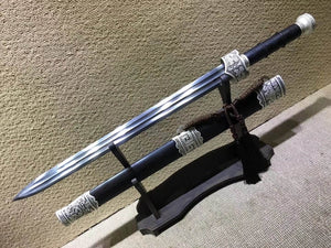 "Yuewang sword,Damascus steel blade,Black scabbard,Alloy fittings,Length 32"" - Chinese sword shop"