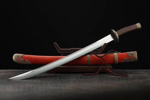 Broadsword,Damascus steel blade,Rosewood scabbard,Brass - Chinese sword shop