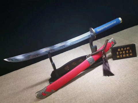 Qing dao sword,High carbon steel blade,Red scabbard,Alloy fittings