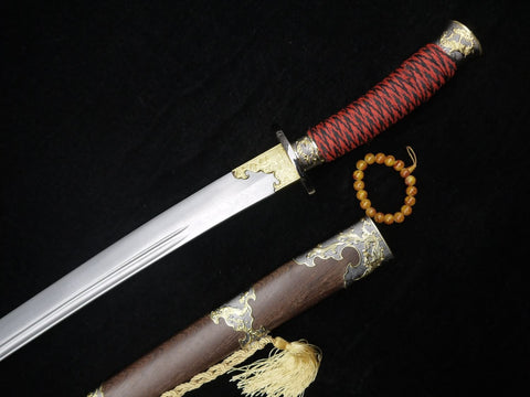 "Broadsword/Damascus steel blade/Rosewood scabbard/Alloy fittings/Length 38"" - Chinese sword shop"