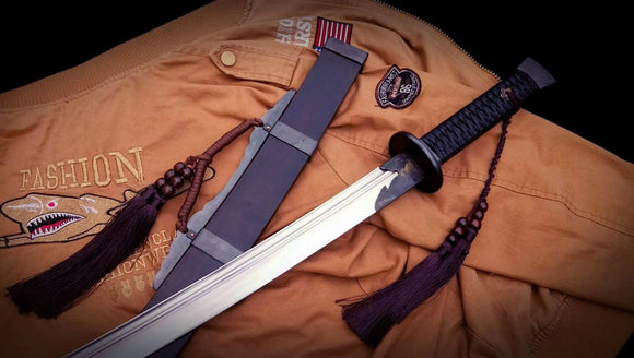 Qing dao sword,Damascus steel turn blade,Iron fittings,Full tang - Chinese sword shop