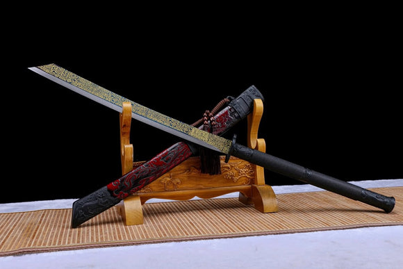 KANGXI Cut Horse dao,High Carbon Steel Blade,Solid Wood Carving Scabbard