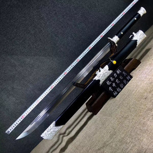 Cut horse broadsword,High carbon steel blade,Black wood,Alloy - Chinese sword shop