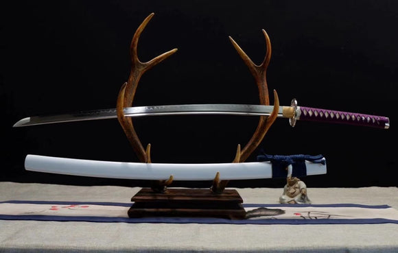 Katana Samurai Custom Sword Forged T10 Steel Clay Tempered Battle Ready