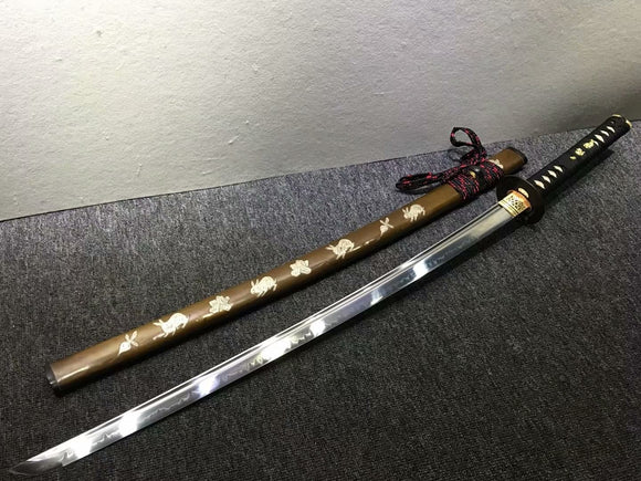 Samurai sword,Handmade,High carbon steel burn blade,Brass,Full tang,C - Chinese sword shop