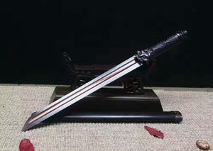 "Tiger sword(Damascus Steel red blade,Black wood scabbard,Alloy fitted)Length 20"" - Chinese sword shop"