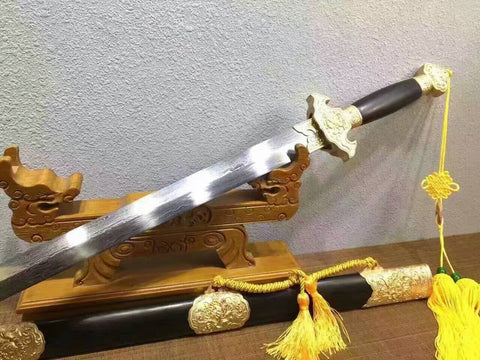 Peony chinese sword(Pattern steel blade,Ebony scabbard,Copper fitting)Full tang,Length 39""