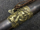 Longquan sword,Damascus steel blade,Black scabbard,Brass - Chinese sword shop