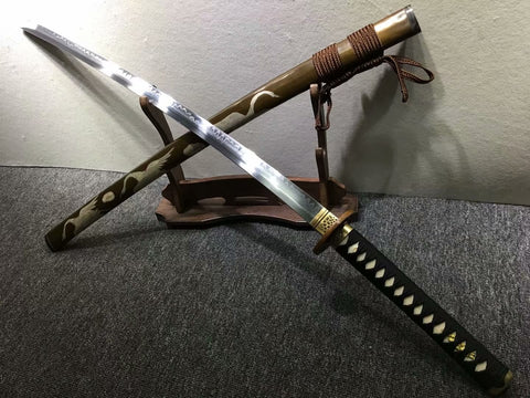 Katana,Handmade,High carbon steel burn blade,Brass,Full tang,D - Chinese sword shop