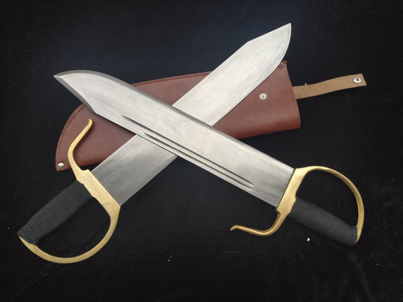 WING CHUN Bart Cham Dao/Damascus steel blade/Brown Leather Sheath