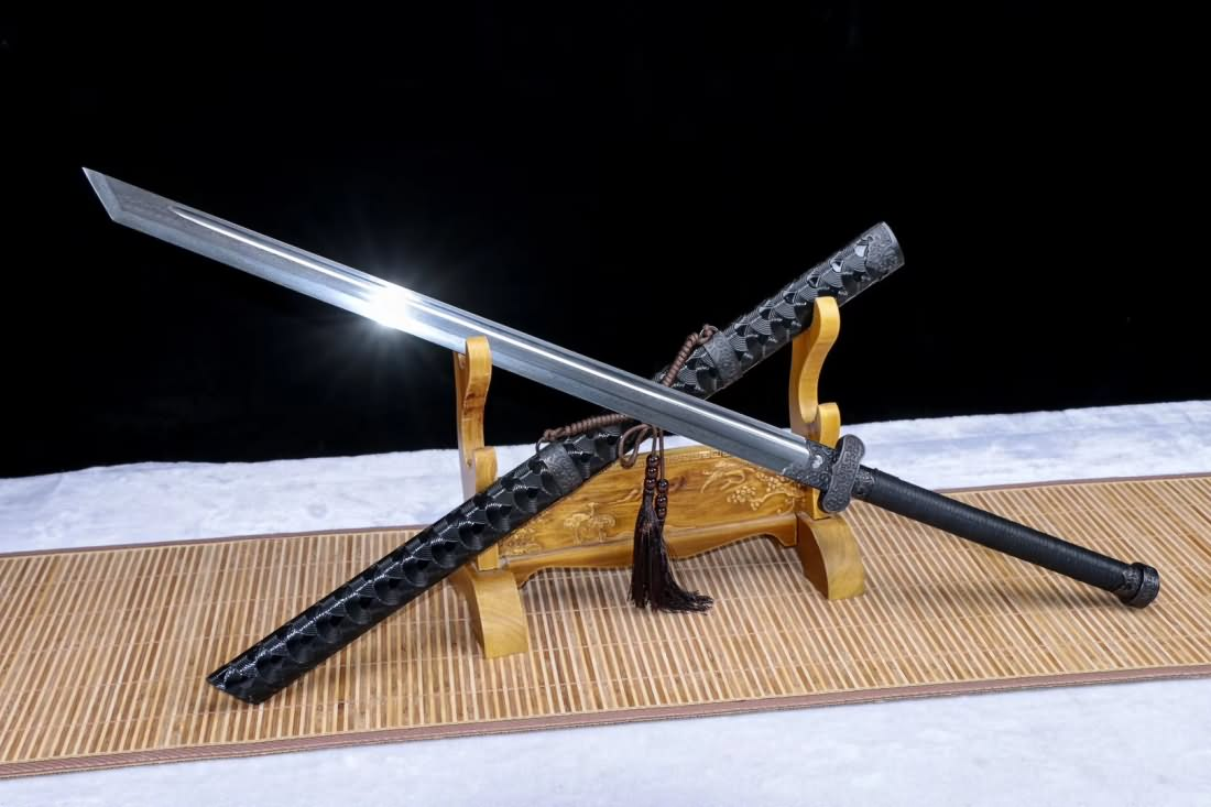 broadsword damascus steel blade leather scabbard chinese sword chinese sword store chinese sword store