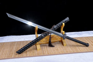 Broadsword,Damascus steel blade,Leather scabbard,Chinese sword - Chinese sword shop