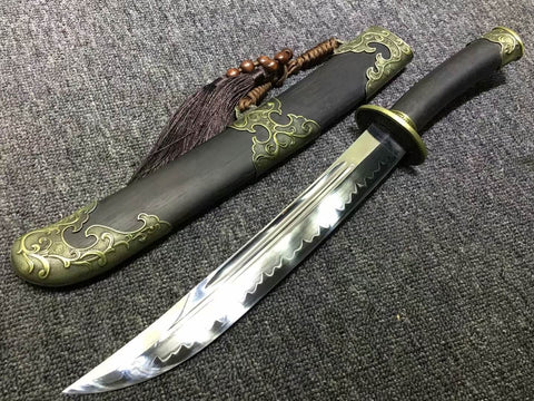 Small qing dao,Hand Forged,High carbon steel burn blade,Black wood,Alloy