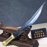 Hunting knife,High carbon steel etch blade,Leather,Alloy - Chinese sword shop