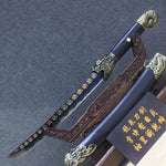 Machete sword,High carbon steel,Black scabbard,Alloy fitting - Chinese sword shop