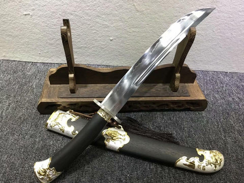 Small qing sword,High carbon steel burn blade,Black wood,Alloy