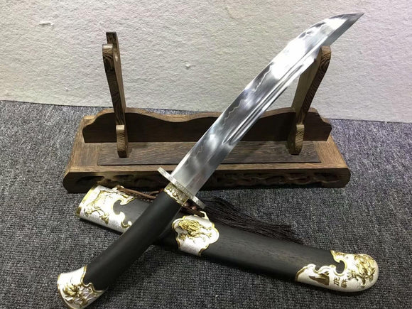 Small qing sword,High carbon steel burn blade,Black wood,Alloy - Chinese sword shop