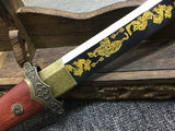 Tang dao,Dagger,High carbon steel burn blade,Rosewood,Alloy