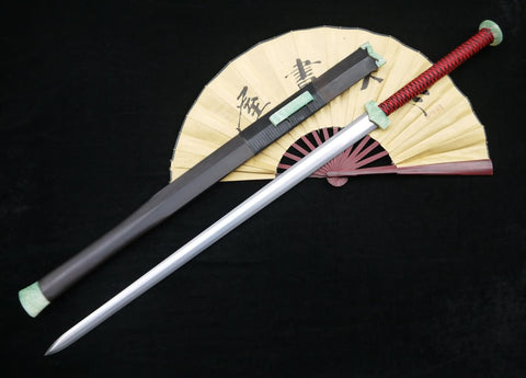 "Chinese sword,Han jian(Folded steel blade,Black wood scabbard,Resin fitting)Full tang,Length 39"" - Chinese sword shop"