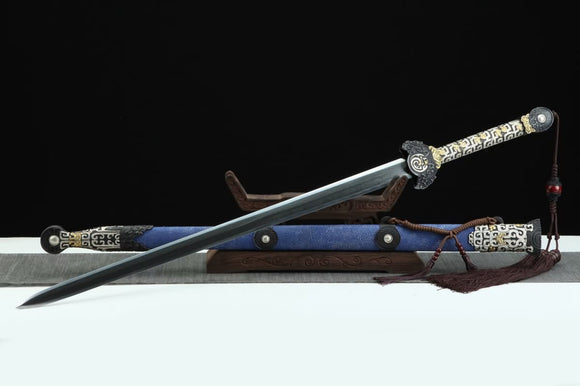 Real Luna Sword(Forged Damascus Steel Blade,Skin Scabbard,Brass Fittings) Chinese Sword Antique Gift