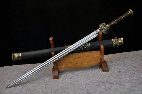 Fengyun sword,Folding pattern steel blade,Black scabbard,Alloy Handle
