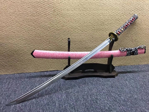 samurai sword,Medium carbon steel bade,Pink scabbard,Alloy fittings - Chinese sword shop