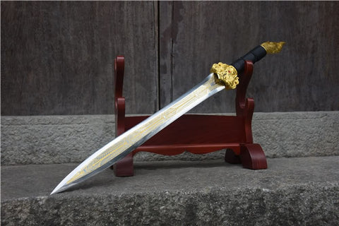 Integral sword,handmade(High carbon steel etch blade,Leather scabbard)Full tang - Chinese sword shop