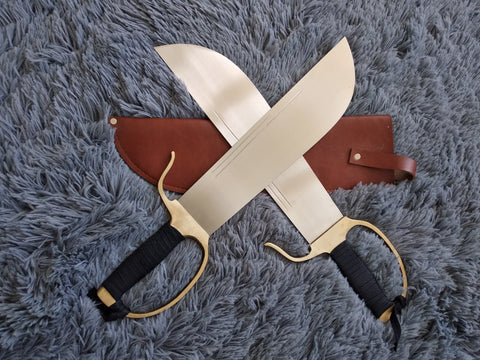 Wing Chun Bart Cham Dao,Stainless steel blade,Leather,Brass