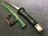 Nihontou katana,Green skin scabbard,Damascus steel burn blade,Brass,Full tang - Chinese sword shop