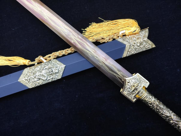 Golden Han Sword,Forged High Carbon Steel Blade,Alloy Scabbard