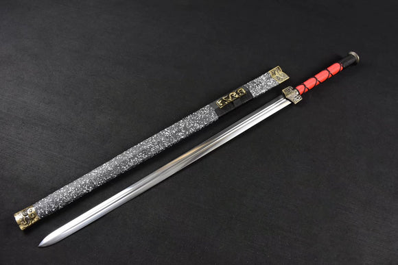 Chinese sword,Han jian,Medium carbon steel,Snowflake scabbard,Alloy fitted,Length 42 inch - Chinese sword shop