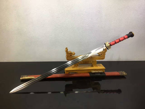 Chinese sword,Han jian(Folding steel blade,Redwood scabbard,Alloy fitted)Length 41""