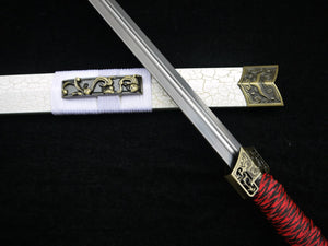 "Han jian(Medium carbon steel blade,White scabbard,Alloy)Length 39"" - Chinese sword shop"