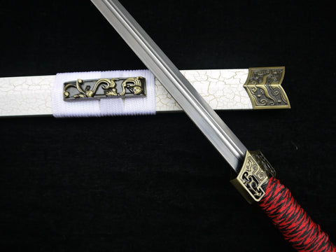 Chinese sword,Han jian(Medium carbon steel blade,White scabbard,Alloy fitted)Length 39""