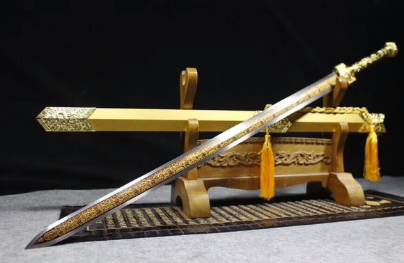 Han sword,High carbon steel Etched blade,Golden scabbard,Alloy fittings - Chinese sword shop