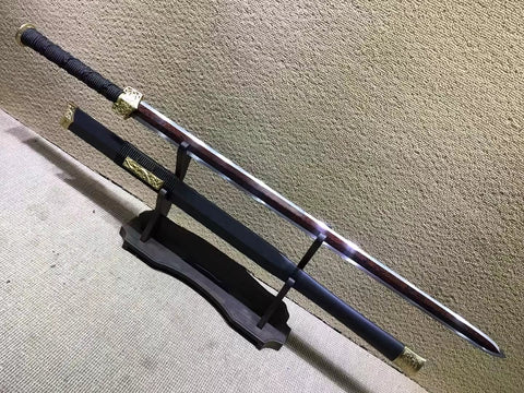 "Han sword(Damascus steel red bade,Black scabbard,Brass fittings)Length 41"" - Chinese sword shop"